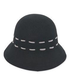 cca36d0ff9b ADORA Black Contrast-Stitch Wool Cloche