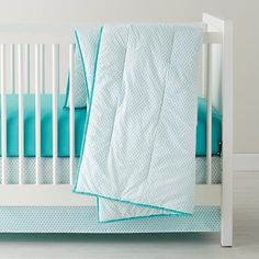 The Land of Nod | Baby Sheets: Aqua Diamond Crib Bedding in Crib Bedding