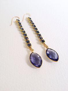 blue rhinestone chain earrings by oiseaujewelry on Etsy, $30.00