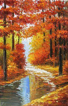 ORIGINAL Oil Painting Canadian Autumn 23 X 36 Palette by decorpro