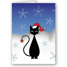 #Christmas #Cat with #Snowflakes #Card $3.35