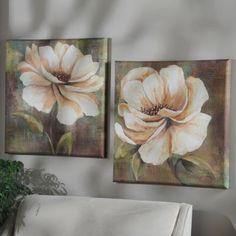 Product Details Vintage White Floral Canvas Art Print - Home Decor Easy Paintings, Painting Frames, Painting Doors, Canvas Art Prints, Canvas Wall Art, Interior Paint Colors, Interior Painting, Art Moderne, Paint Designs