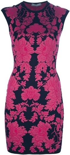ALEXANDER MCQUEEN  Fitted Floral Print Dress