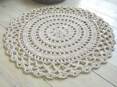 Crochet Rope Giant Doily Rug Cotton by KnitJoys on Etsy Crochet Doily Rug, Crochet Eyes, Crochet Dollies, Diy Crochet And Knitting, Crochet Rope, Crochet Squares, Love Crochet, Crochet Gifts, Filet Crochet