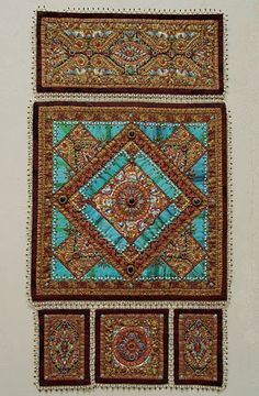 """""""BYZANTINE BEZELS AND BORDERS, OH MY!"""" '07   by Thom Atkins          Beaded Art Quilt  40"""" x 21"""""""