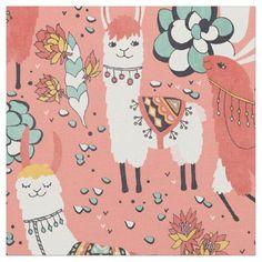 Lama in cactus jungles fabric - animal gift ideas animals and pets diy customize