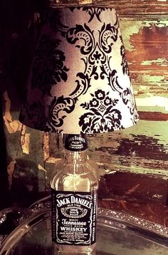 Jack Daniels Lamp with Black and White Lampshade by JunqueHippy