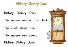 Hickory Dickory Dock Word to Word Match-up & Telling Time Song Colored Copy Paper, Hickory Dickory Dock, Book Activities, Activity Books, Kindergarten Fun, Telling Time, Children's Literature, Sight Words, Word Work