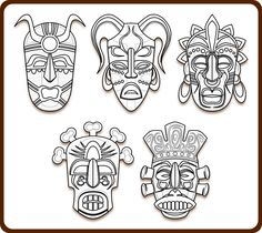 Tribal Masks Art Coloring Book Colouring Sheet Page Black White Line Art 111px.png