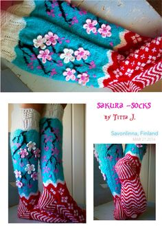 Sakura -socks Knitting Socks, Knit Socks, Knit Stockings, Knitting Projects, Bunt, Slippers, Crafty, Inspiration, Crochet