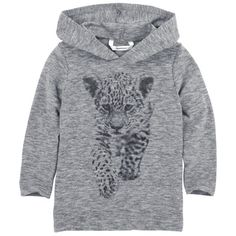 3 Pommes - Mottled grey T-shirt with a hood