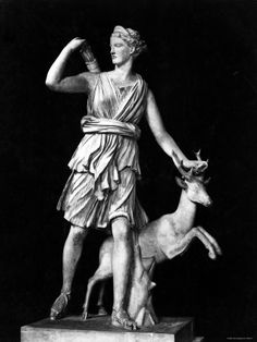 Artemis was the fleet-footed goddess of the hunt. Often depicted in painting and sculpture with a deer or a hunting dog, she was both huntress and protectress of the living world. Her Roman equivalent was Diana. Roman Mythology, Greek Mythology, Artemis Greek Goddess, Hel Goddess, Moon Goddess, Artemis Aesthetic, Greek Pantheon, Daughter Of Zeus, Greek Gods And Goddesses