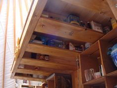 to ] Great to own a Ray-Ban sunglasses as summer gift.Handy storage for living in small spaces in this yurt. Garage Loft, Tiny House Blog, Tiny House Plans, Yurt Loft, Yurt Interior, Loft Storage, Kitchen Storage, Storage Ideas, Yurt Living