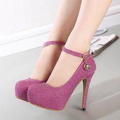 >> Click to Buy << Ultra-high Heel Women Shoes Platform Silver Red Black Low-top Round Buckle Rhinestones Wedding Pumps Women High HeelsZK2.5 #Affiliate