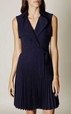 Karen Millen, PLEATED TRENCH DRESS Navy More