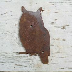 OWL 1 Rustic owl shape  These cute rusted shapes are made for attaching to any wall, post, fence or sign.  Made from thick 16 ga (thick as a nickel) metal these are not imported cheap tin shapes.  Your shape will include mounting screws 1/2″ long to attach the shape. Buy with confidence this will look good.