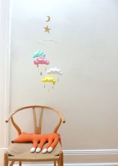"""Star and moon Nursery cloud mobile """"LILY"""" by The Butter Flying-Yellow,mint, pink nursery. Ready to be sent."""