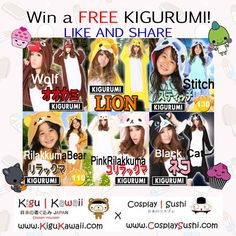 KIGURUMI GIVEAWAY! JOIN NOW! ☜(ˆ▽ˆ)  https://www.facebook.com/photo.php?fbid=165486633642039=a.137265316464171.1073741830.137199429804093=1