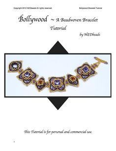 Beadweaving Tutorial  Bollywood Bracelet Pendant and by NEDbeads, $12.50.  (14mm rivolis and 39SS 8mm chatons.)