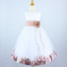 Dusty Rose And White Gown Flower Girl Dress Petals Wedding Bridal Pageant Party