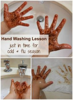 what a simple (and awesome!) hand washing activity for kids                                                                                                                                                                                 More