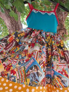 Superhero party Girls comic print tank dress. by SuperCuteCostumes, $50.00