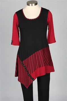 inside out - Tuesday Tunic - Black & Red - Tops at Fawbush's