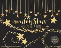 GOLD FOIL STARS Clipart Commercial Use Clip Art Metallic Gold Stars Banner Border Gold Star Swirls Bunting Garland Frame Clipart Graphics