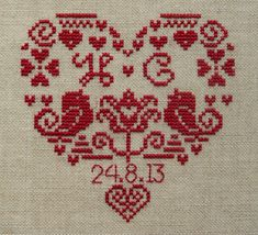 Personalised Heart Sampler Cross Stitch Kit by ClementinesNeedle on Etsy https://www.etsy.com/uk/listing/230037755/personalised-heart-sampler-cross-stitch