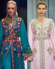 A gauche, caftan Zineb Joundy lors de l'Oriental Fashion Show en Azerbaïdjan. A droite, Caftan Qadienne Style dans la résidence de l'Ambassadeur du Maroc en Azerbaïdjan