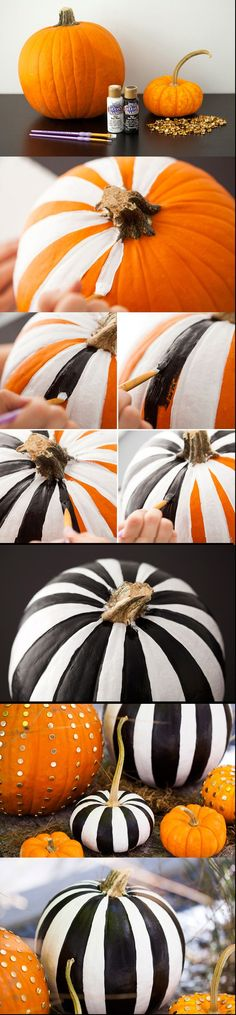 Some great looking no-carve pumpkin ideas! I can't decide which I like more: the black and white paint or the pushpin studs.