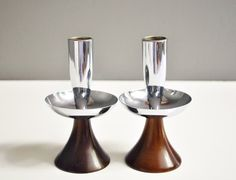 Vintage Wood and Metal Taper Candle Holders by thewhitepepper