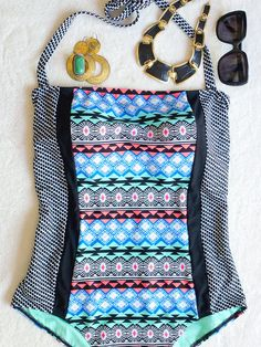 Tribal print one piece swimsuit