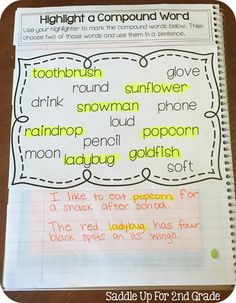 Concentrating on Compound Words Compound Word Journal Prompts by Saddle Up For Grade 2nd Grade Grammar, 2nd Grade Ela, 2nd Grade Writing, 2nd Grade Classroom, First Grade Reading, Second Grade, Grade 2, 2nd Grade Centers, Literacy Centers