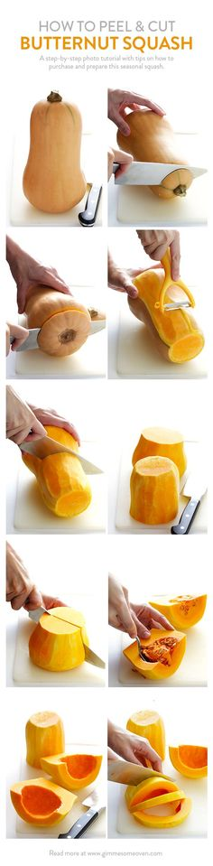 A step-by-step photo tutorial on how to (safely!) peel and cut butternut squash. Read the post for more tips and tricks! | gimmesomeoven.com