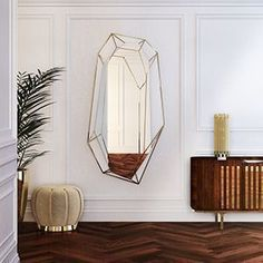 Diamond is a full length version of the diamond shaped mirror, covering about 70 inches of the wall. Since it is crafted in a polished brass structure it produces a tall sleek design, merging geometry and design on the same object. Mirror Inspiration, Living Room Inspiration, Home Decor Inspiration, Luxury Mirror, Cozy Bedroom, Bedroom Ideas, Mid Century House, Mid Century Furniture, Mid Century Design