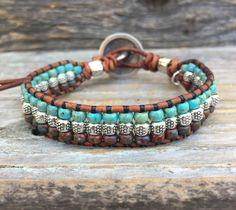 Leather Cord Bracelets, Beaded Wrap Bracelets, Bohemian Bracelets, Seed Bead Bracelets, Seed Bead Jewelry, Bracelets For Men, Beaded Jewelry, Seed Beads, Boho Jewelry