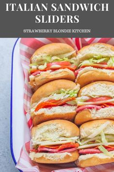 These Italian Sandwich Sliders are served cold, stacked high on Hawaiian rolls and are full of Salami, Pepperoni, provolone, lettuce, tomatoes, onions and dressing for fresh and delicious party sandwich that's also perfect for game day! #appetizer #sandwichrecipes #sandwich #partysandwich #sliderrecipes #slider #italianrecipes #gamedayrecipe #footballfood