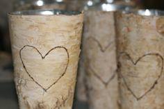 Custom listing for Rebecca and Jeff---Natural Birch Bark Vase Birchwood Initials Monogramm Centerpiece Vase holder. $204.00, via Etsy.