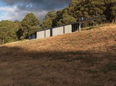 An award winning house in Hanging Rock comprising three terraces staggered along a gentle slope by Kerstin Thompson Architects photographed by Trevor Mein.