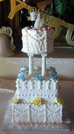 This is a recreation of the anniversary couples original wedding cake. Square Wedding Cakes, Elegant Wedding Cakes, Wedding Cakes With Flowers, 50th Wedding Anniversary Cakes, Cake Creations, Custom Cakes, Retro Vintage, Butter, Cream