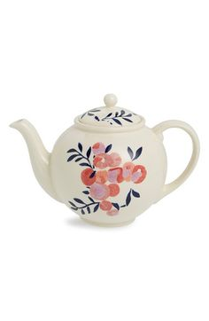 Finally - the Nordstrom and Liberty of London collaboration is here! Flowers of Liberty Floral Stenciled Ceramic Teapot. Ceramic Teapots, Cute Little Things, My Cup Of Tea, China Painting, Chocolate Pots, Shabby, Pottery Painting, Tea Set, Decoration