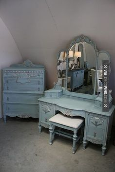 Reloved Rubbish: Vintage Aqua Dresser and Vanity Set 3 parts Old White to 2 parts Provence. Old White on Trim. Graphite wash over all.