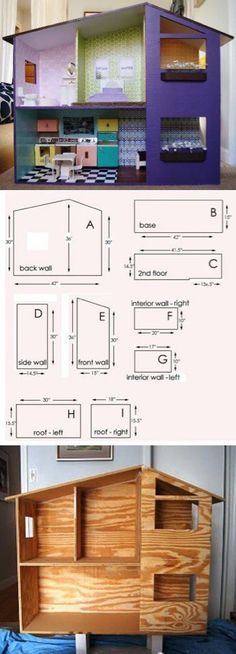 Doll house homemade tutorials new ideas Cardboard Dollhouse, Cardboard Toys, Diy Dollhouse, Wooden Dollhouse, Toddler Dollhouse, Homemade Dollhouse, Cardboard Houses, Cardboard Furniture, Wooden Furniture