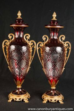 antique crystal light fixtures, acorn, leaves | Photo of Pair French Empire Crystal Vases Ormolu Fixtures Louis XV