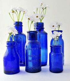Cobalt Blue Bottles Vintage Instant Collection by OldSusanWilliams, $50.00  My mom LOVES blue glass! Need to keep in mind!