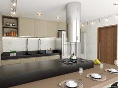 Cozinha. #decoração #arquitetura #revestimento #coifa #iluminação #cooktop #nicho #silestone