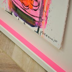 Custom framed with Neon pink insert Custom Framing, Galleries, Presents, Neon, Contemporary, Canvas, Frame, Pink, Painting