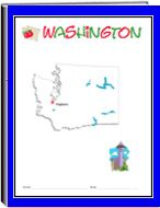 Washington -   Each state thematic unit is 13 pages. They offer information about the following: history, Capital, flag, tree, bird, flower, size, location, climate, topagraphy, industry, natural resources, waterways    The following pages are also included: questions, word uncramble, spelling, state map, add your own information, answers