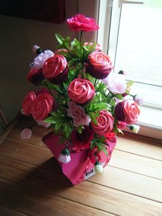Hot Pink CupCake Bouquet  1 doz cupcakes in each bouquet  Made By Little Miss CupCakes   Hawera, New Zealand